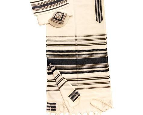Cotton  Tallit -Gold with Black