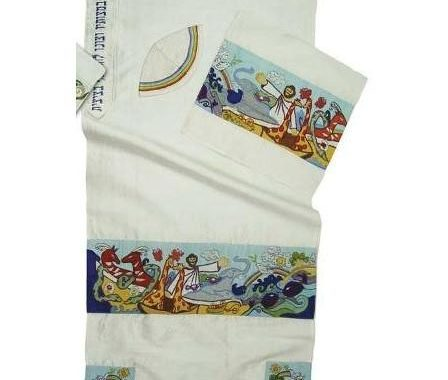 Embroidered Art Tallit Noah And Ark