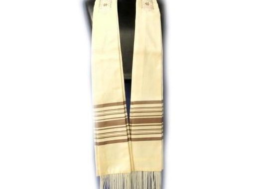 Form Fitted Clergy Tallit - Cream Cocoa
