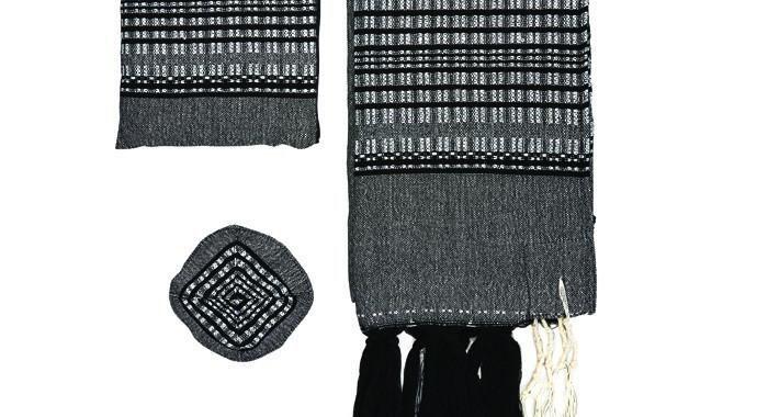 Gray And Metallic Wool Tallit Set By Gabrieli