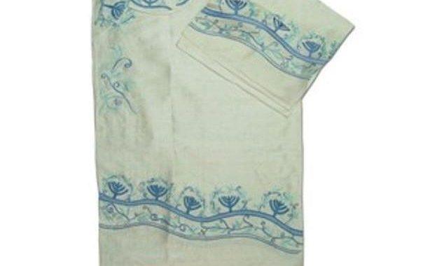 Menorah Design 3 Pc Tallit Set In Wild Silk