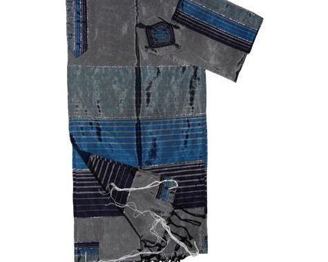 Silk Tallit- Gray with 3 Blues