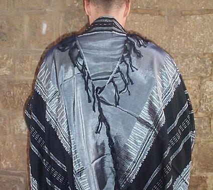 Silk Tallit- Gray with Black Design
