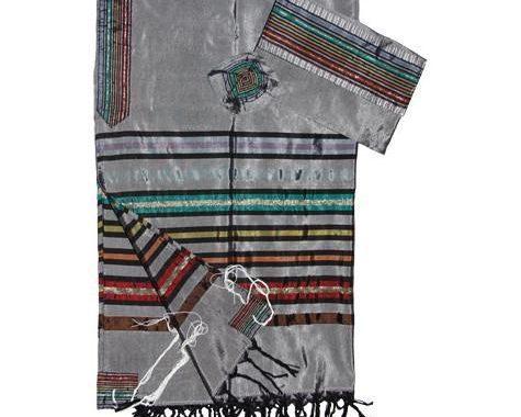 Silk Tallit- Gray with Josefs Stripes
