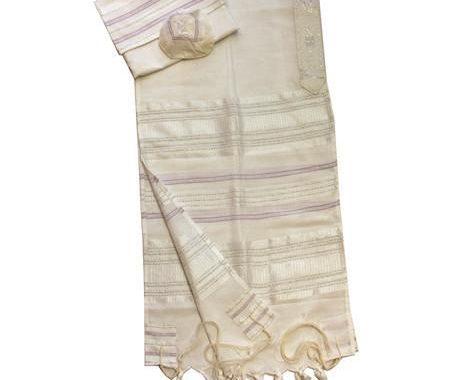 Silk Tallit - Silver and Purple