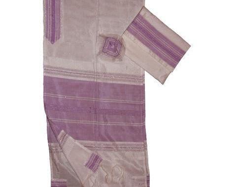 Silk Tallit- White with Purple