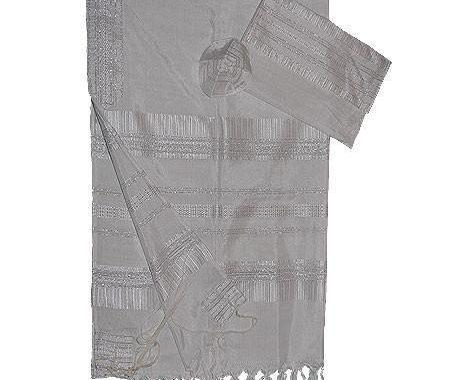 Silk Tallit- White with Silver