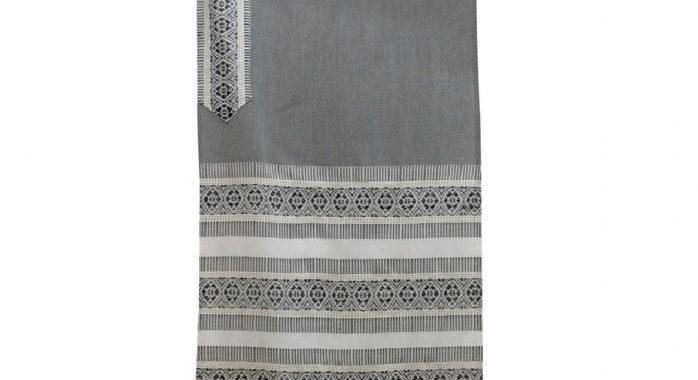 Tallit Prayer Shawl - Woven Wool Gray