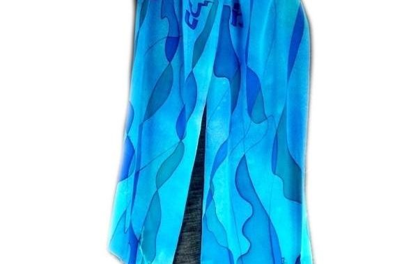 Tallit Set - Abstract Design In Blues