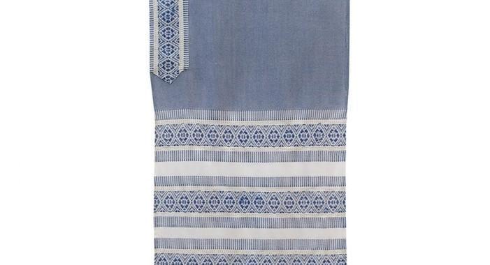 Tallit Set - Hand Woven Wool & Fringes Blue