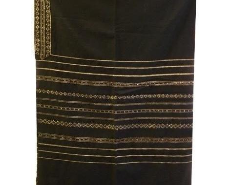 Wool Tallit - Gold Stripes On Black