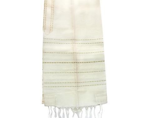 Wool Tallit - Gold Stripes on White