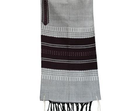 Wool Tallit - Gray with Dark Purple