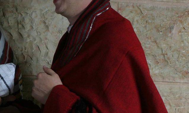 Wool Tallit - Grays on Red