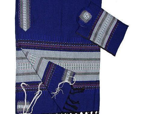 Wool Tallit - Grey on Blue
