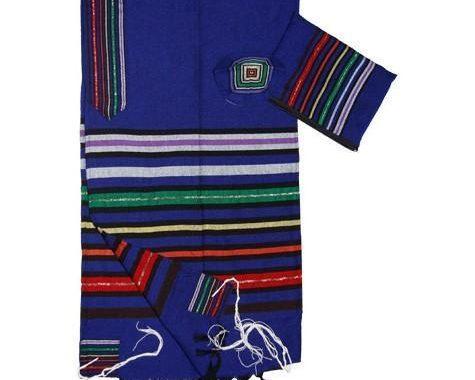 Wool Tallit - Josephs Coat on Blue