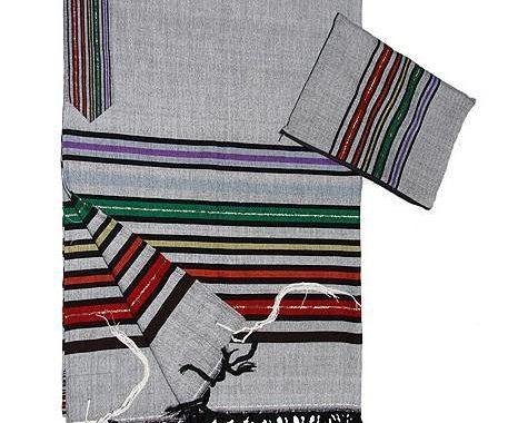 Wool Tallit - Josephs Coat on Gray