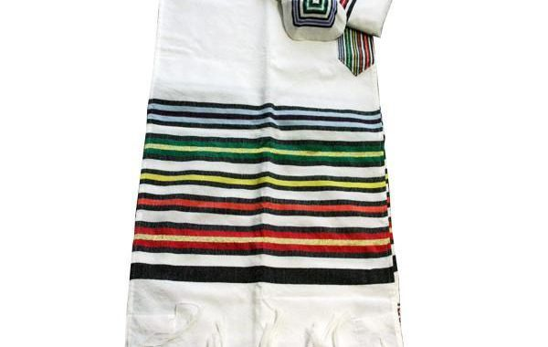 Wool Tallit - Purim on White
