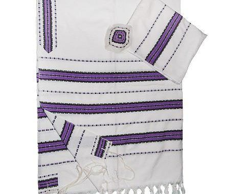 Wool Tallit - White with Purple