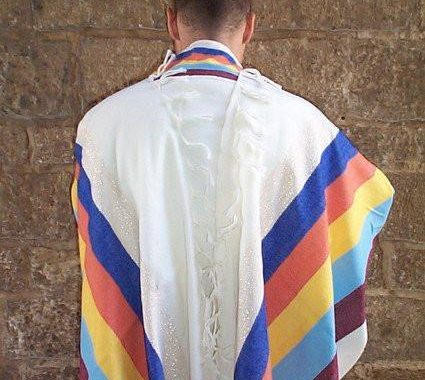 Wool Tallit - Wide Stripes on White